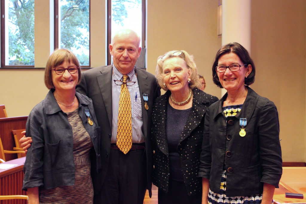 Medaljörerna Docent Lena Jacobson, Professor Jan Ygge, Marianne Bernadotte och Professor Gerd Holmström